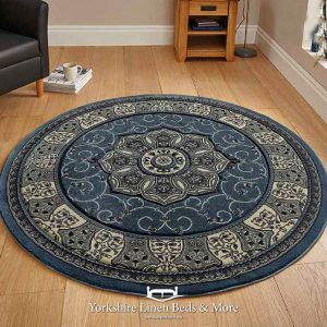 Heritage Traditional Round Rug, Blue