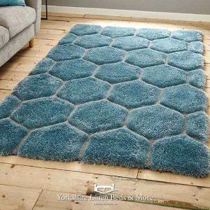 Noble House Chunky Hexagon Blue Rug